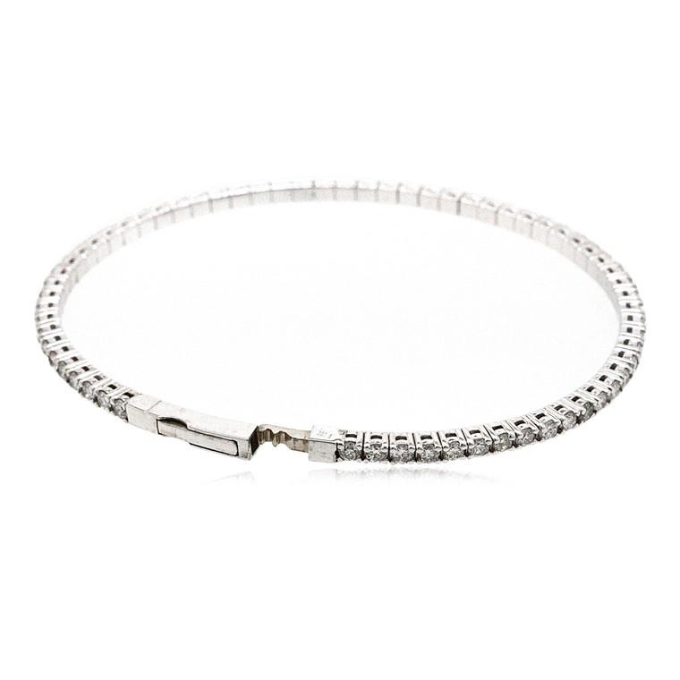 New 14K White Gold 1.40 Carat Flexible Diamond Bangle  21000693  By Shin Brothers*