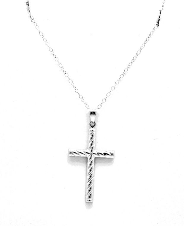 14K White Gold Cross Charm 50003543