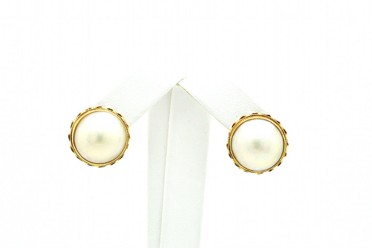 14K Yellow Gold Mabe Pearl Omega Back Earrings 420023042