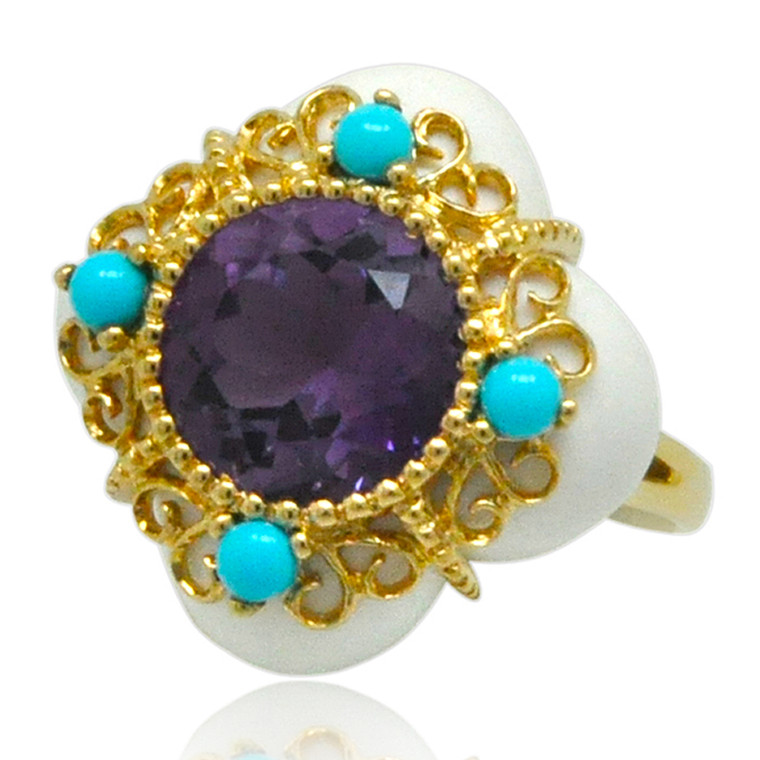 14K Yellow Gold Amethyst Turquoise and White Agate Ring 12002779 By Shin Brothers*