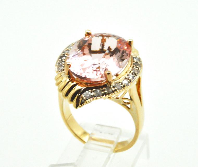 14K Yellow Gold Diamond & Morganite Ring 12002790 By Shin Brothers*