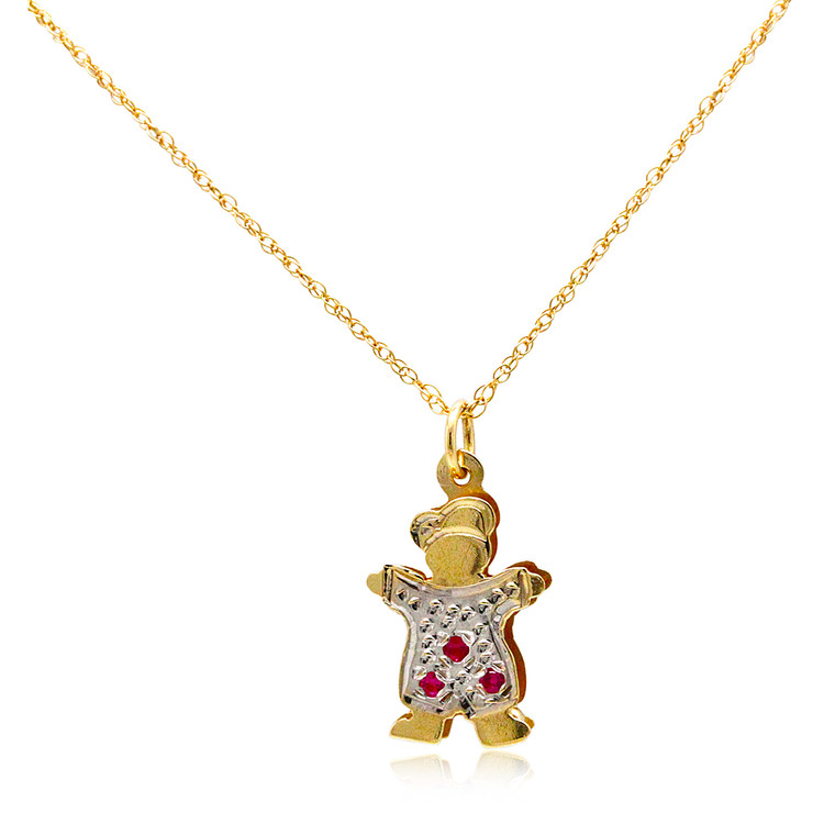 14K Two Tone Gold Boy Red and White CZ Charm 52002025 | Shin Brothers*