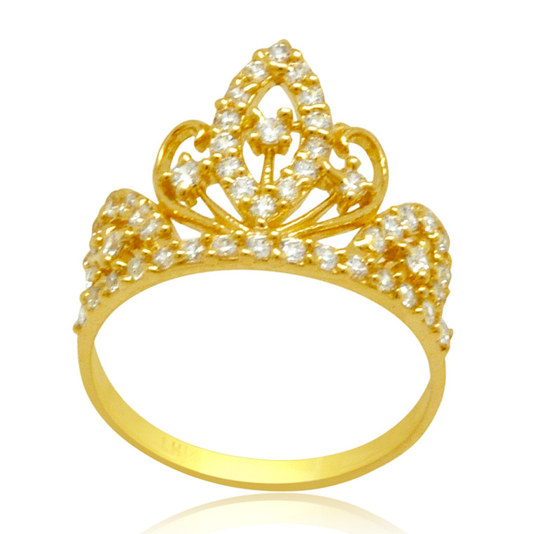 14K Yellow Gold Princess Crown  CZ Ring 12002786 By Shin Brothers*