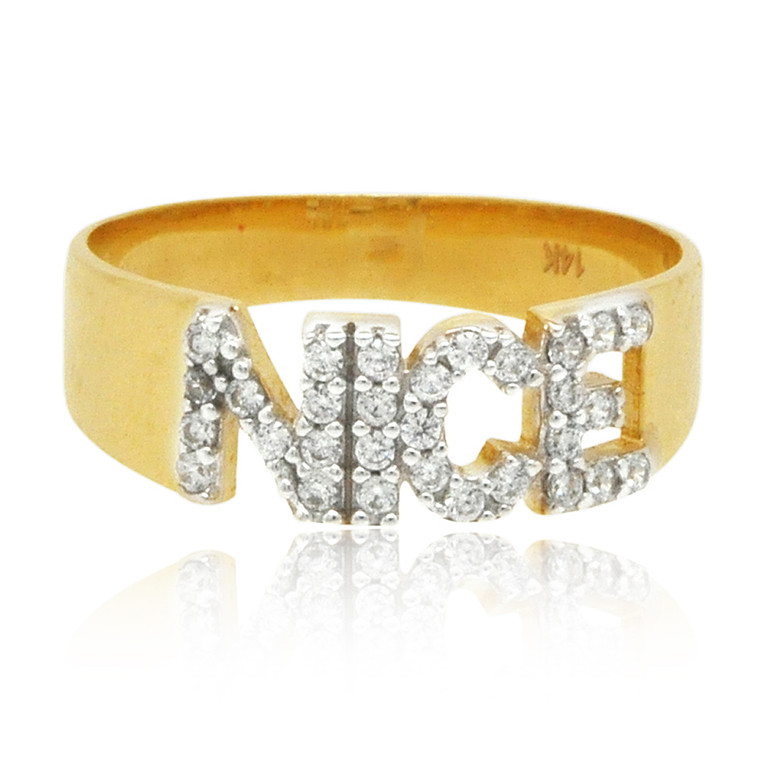 "14K Yellow Gold CZ ""Nice"" Ring 12002784 By Shin Brothers*"
