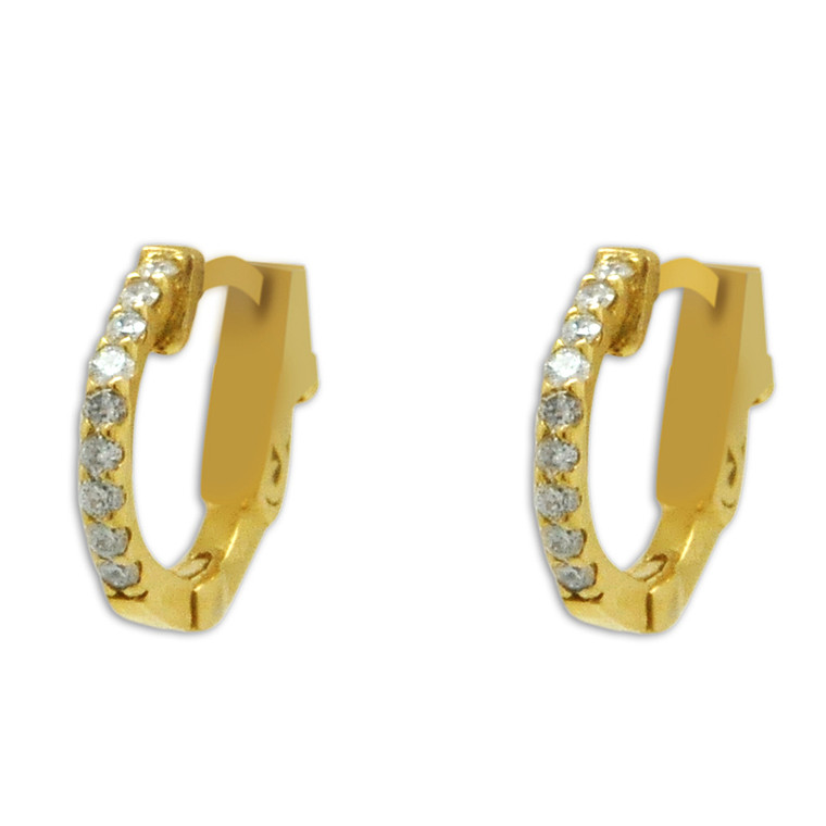 14K Yellow Gold Diamond  Safty Lock Huggie Hoop Earrings 41002292 By Shin Brothers*