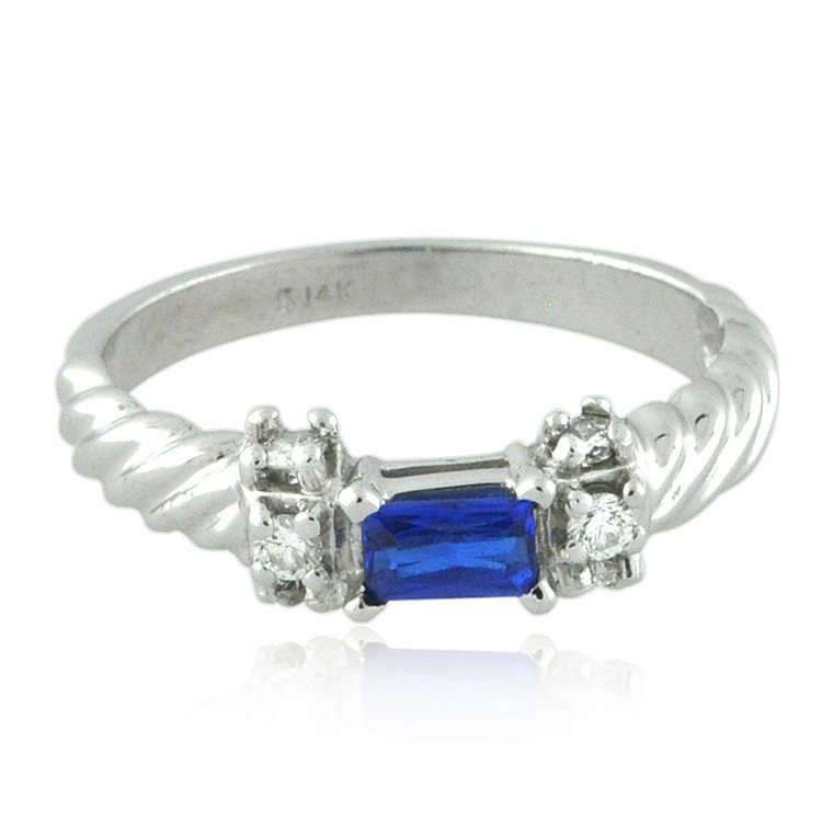 14K White Gold Synthetic Sapphire /Diamond Ring 12002804