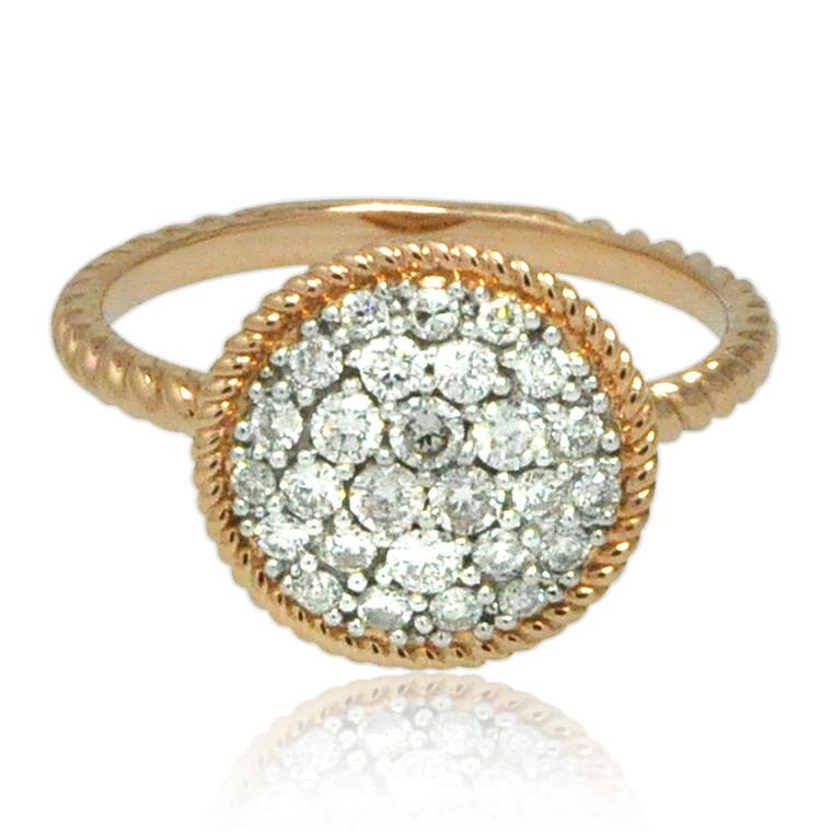 14K Rose Gold Diamond Cluster Ring