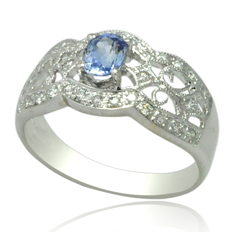 18K White Gold Diamond and Tanzanite Ring 12002797 By Shin Brothers*