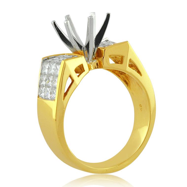 18k yellow gold invisible set diamond ring setting