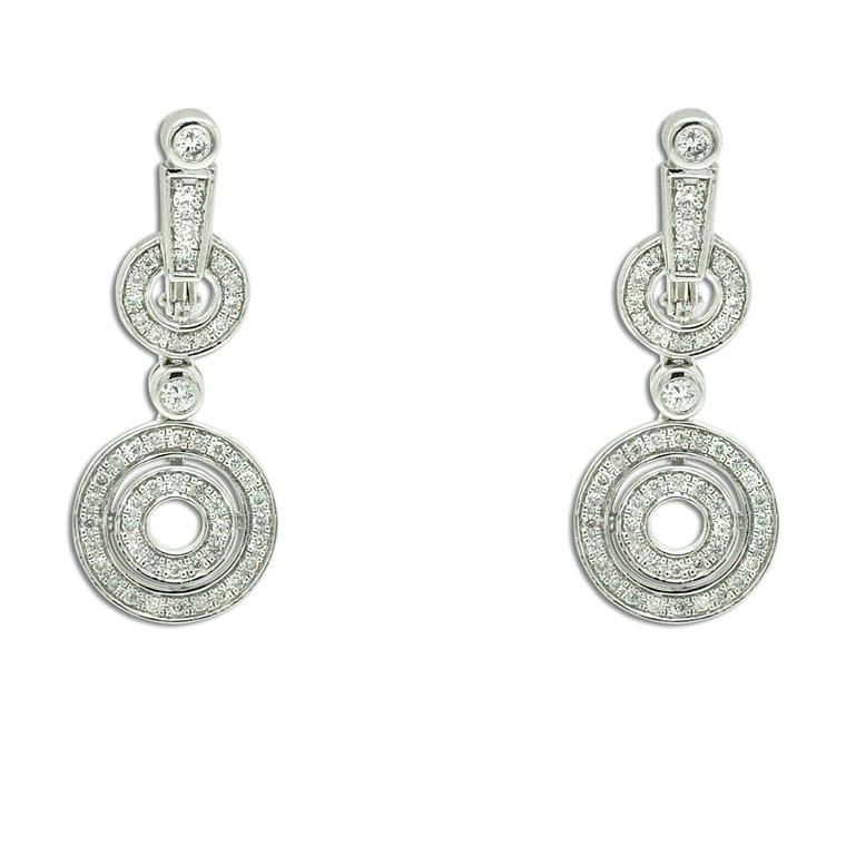 14K White Gold Diamond Fancy Drop Earrings 41002286 By Shin Brothers*