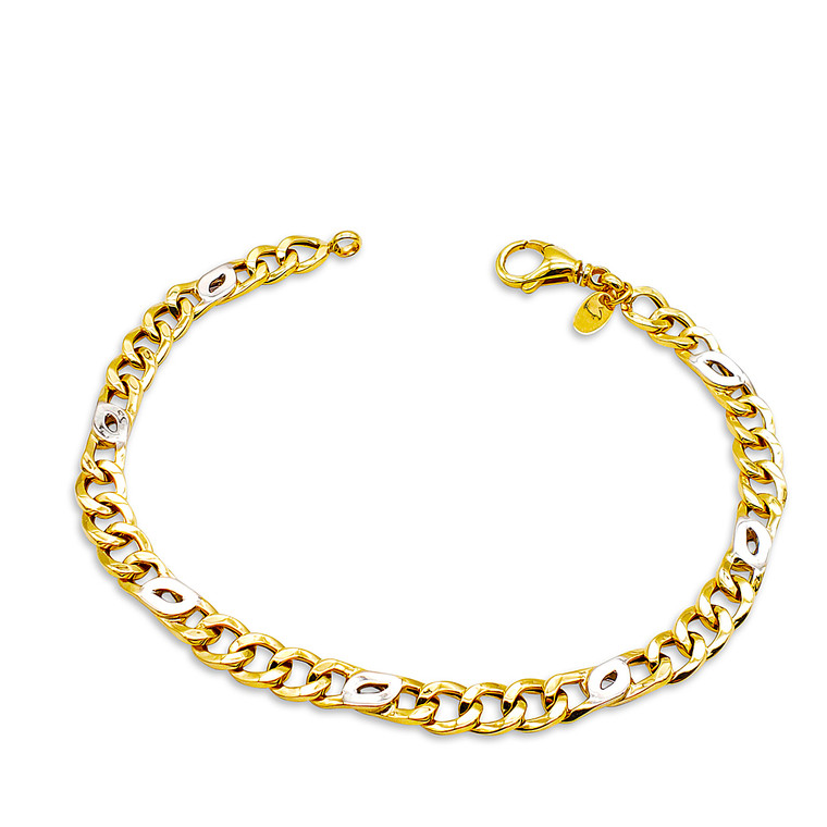 "14K Yellow and White Gold 8.5"" Cuban Link Bracelet  with Lobster Lock 20001722  By Shin Brothers*"