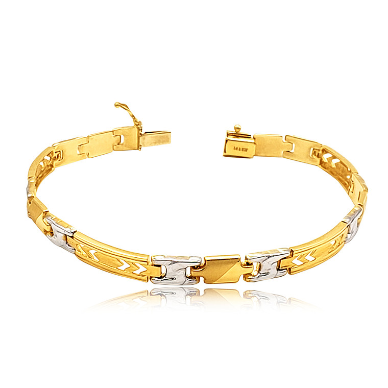 """14K Yellow and White Gold 8.25"""" Fancy Link Bracelet 20001732  By Shin Brothers*"""