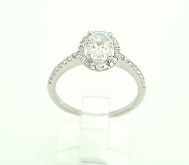 GIA Certified 18K White Gold 1.00 Carat Oval Diamond Engagement Ring 11005747 By Shin Brothers*