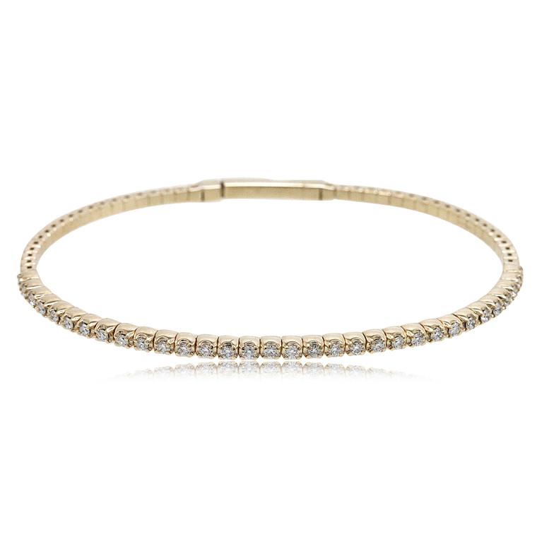 14K Yellow Gold 1.40 Carat Diamond Flexible Bangle 21000768 | Shin Brothers*