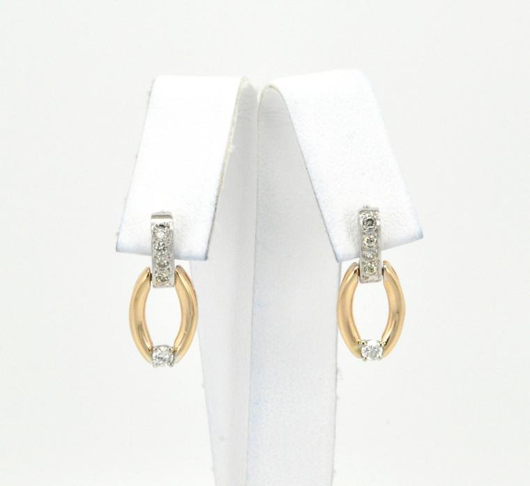 14K Two Tone Gold Diamond Drop Earrings 41060561   Shin Brothers*