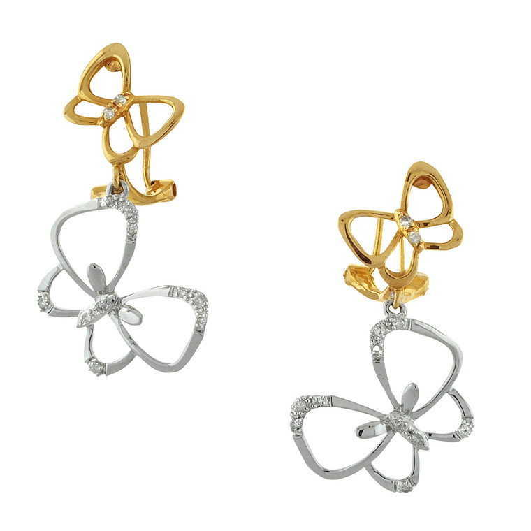 14K Two Tone Gold Diamond Butterfly Hanging Earrings 41002194 | Shin Brothers*