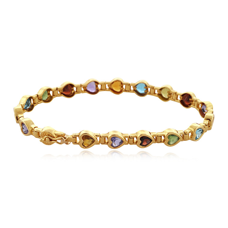 "14K Yellow Gold 7.5"" Multicolor Gemstone Heart Bracelet 22000388 