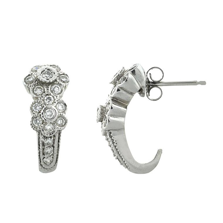 14K White Gold 0.9ct Diamond Flower Earrings 41000638 | Shin Brothers*