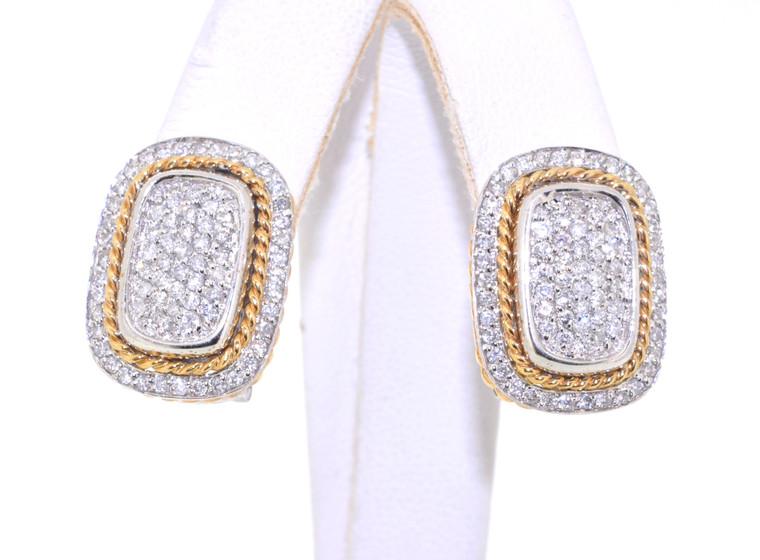 14K Two Tone Gold 1ct Diamond Omega Back Earrings 41000539 | Shin Brothers*