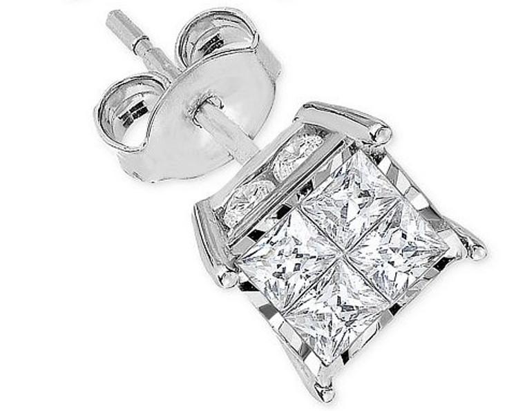14K White Gold Single Diamond Stud Earring 41000425   Shin Brothers*