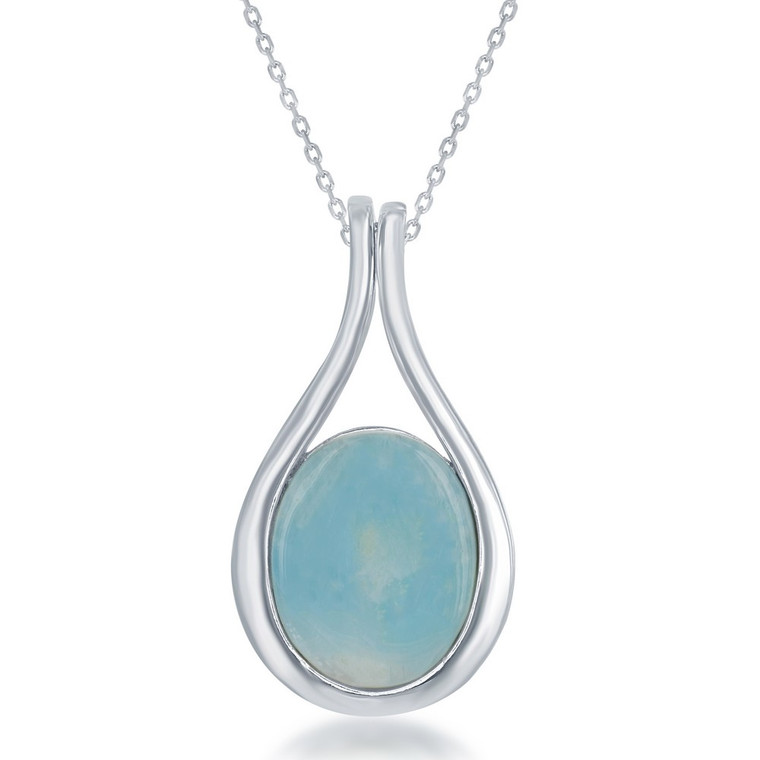 Sterling Silver Teardrop Larimar Pendant Necklace 83011216 | Shin Brothers*