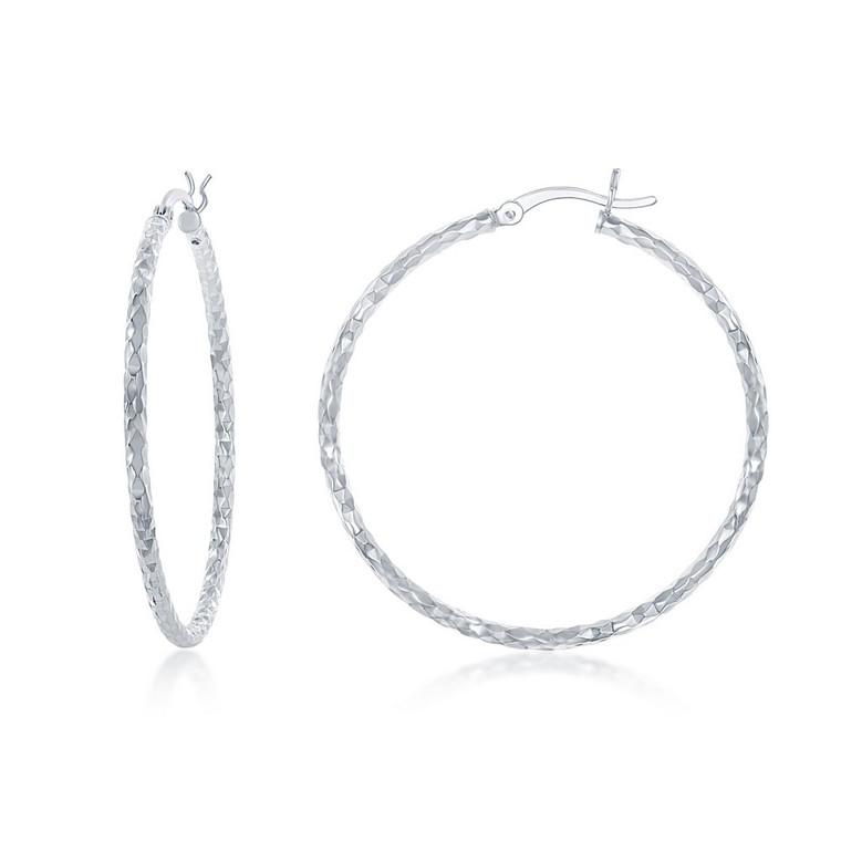 Sterling Silver 40mm Diamond Cut Hoop Earrings 84010693 | Shin Brothers*