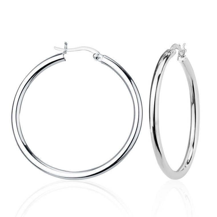 Sterling Silver 3x40mm High-Polished Hoop Earrings 84010696 | Shin Brothers*