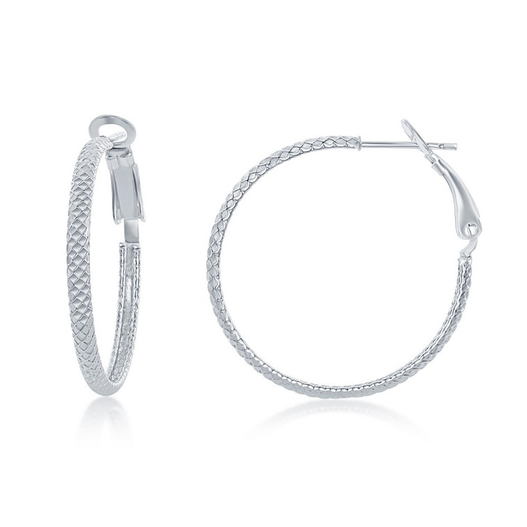 Sterling Silver Rounded Checkered 30mm Hoop Earrings 84010700 | Shin Brothers*