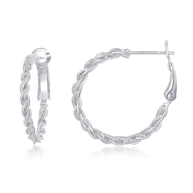 Sterling Silver 25mm Rope Design Hoop Earrings 84010694 | Shin Brothers*