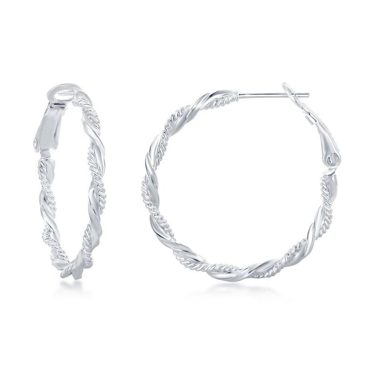 Sterling Silver Inter Twinted Rope & Twist Design Hoop Earrings 84010695   Shin Brothers*