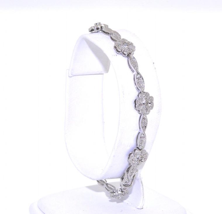 14K White Gold 0.39ct Diamond Flower Bracelet 21000506   Shin Brothers*