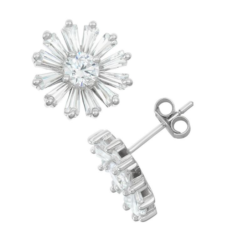 Sterling Silver Baguette CZ Daisy Stud Earrings 84010705   Shin Brothers*