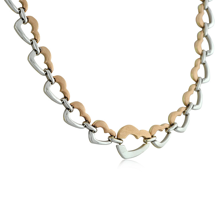 """14K Two Tone Gold 17.5"""" Heart Chain 30001345 