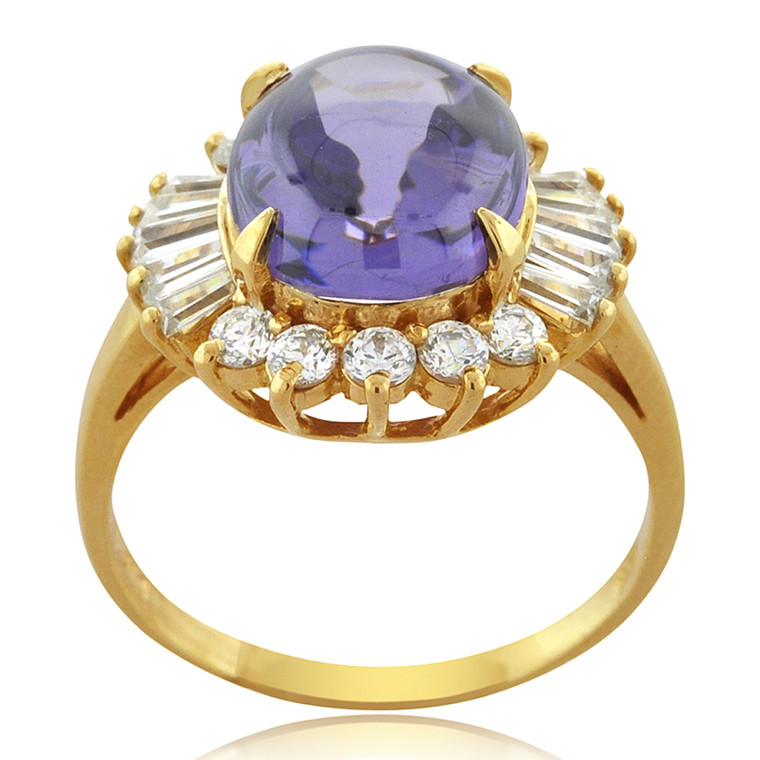 10K Yellow Gold Amethyst/CZ Cabochon Ring 19000236 | Shin Brothers*