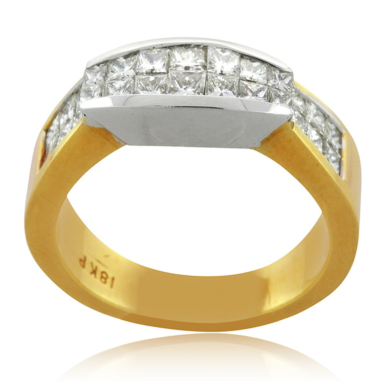 18K Two Tone Gold 1.62ct Princess Diamond Ring 11006259 | Shin Brothers*
