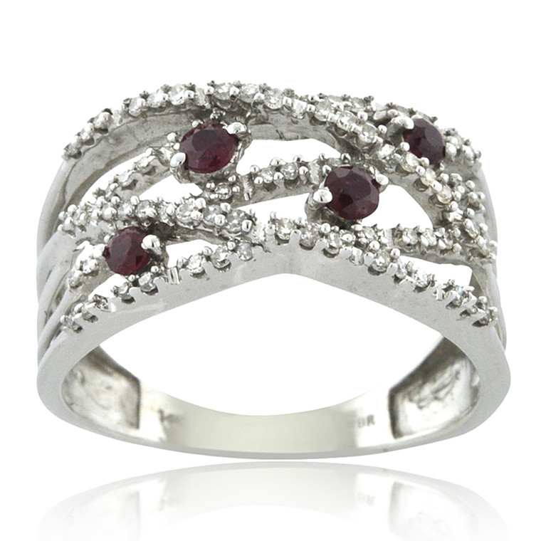 14K White Gold Ruby/Diamond Ring 12002740 | Shin Brothers*