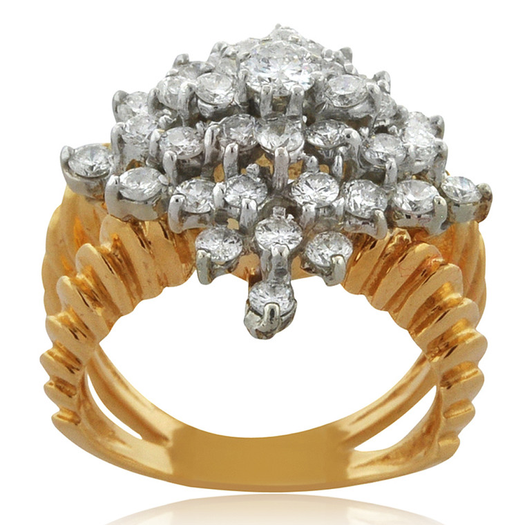 14K Yellow Gold 1.10ct Diamond Cluster Ring 11006152 | Shin Brothers*