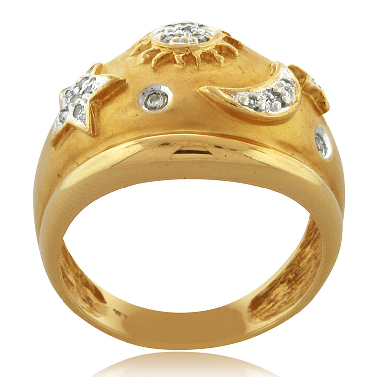 14K Yellow Gold Diamond Celestial Ring 11006022 | Shin Brothers*