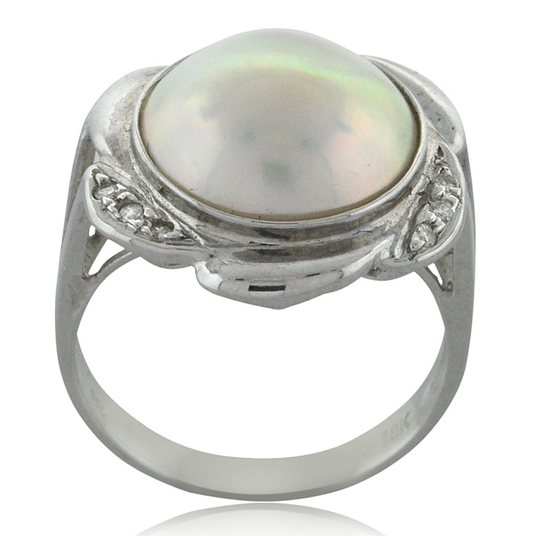 18K White Gold Cultured Pearl & Diamond Ring 12000937 | Shin Brothers*
