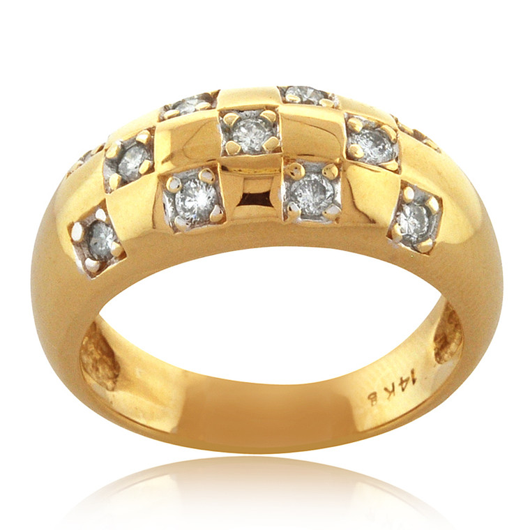 14K Yellow Gold Diamond Checkered Band 11006021 | Shin Brothers*