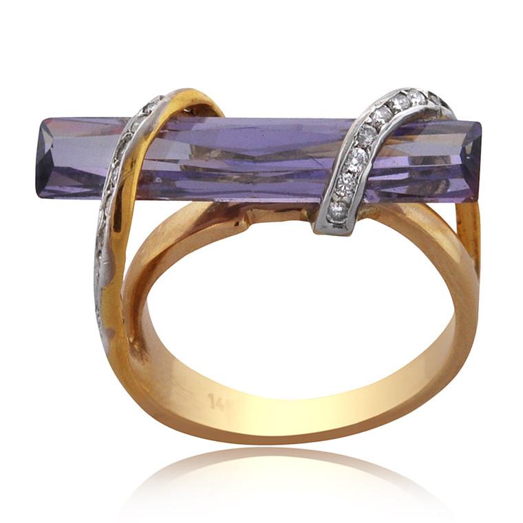 14K Yellow Gold Amethyst/Diamond Twist Ring 12000735 | Shin Brothers*