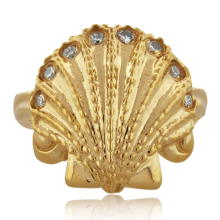 14K Yellow Gold Diamond Seashell Ring 11006302 | Shin Brothers*