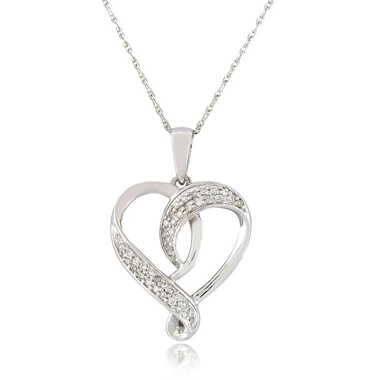 14K White Gold Diamond Heart Pendant 51001930   Shin Brothers*