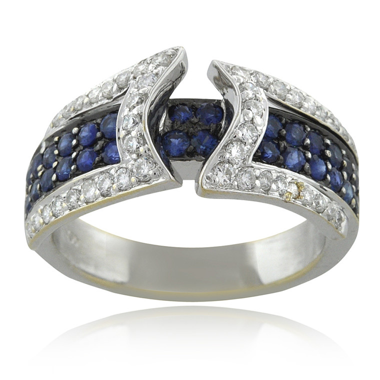 18K White Gold 0.67ct Sapphire 0.43ct Diamond Band 12000012 | Shin Brothers*