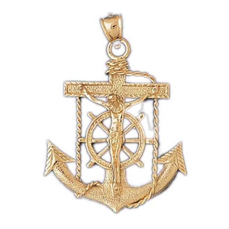 14K Yellow Gold Crucifix Anchor Charm 50003671 | Shin Brothers*