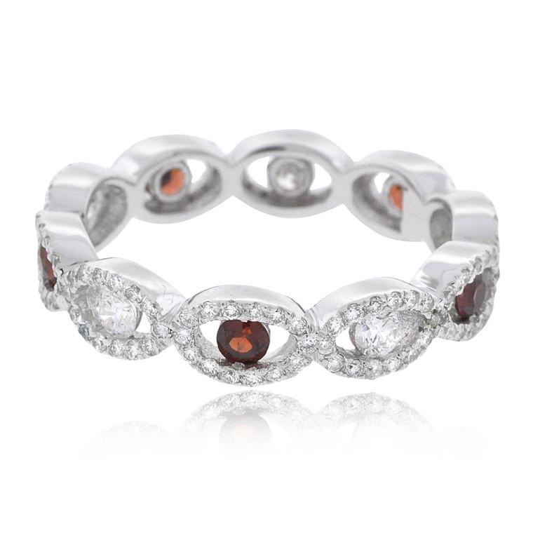 14K White Gold Diamond Garnet Band 12002856   Shin Brothers*