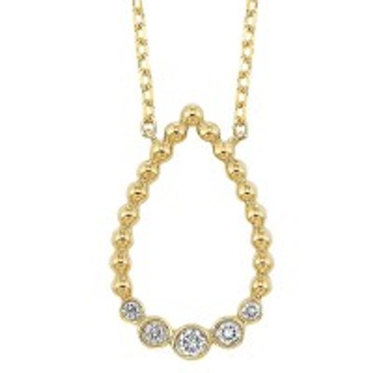 "14K Yellow Gold 0.12ct. Diamond TearDrop Pendant With 18"" Chain 31000968 | Shin Brothers*"