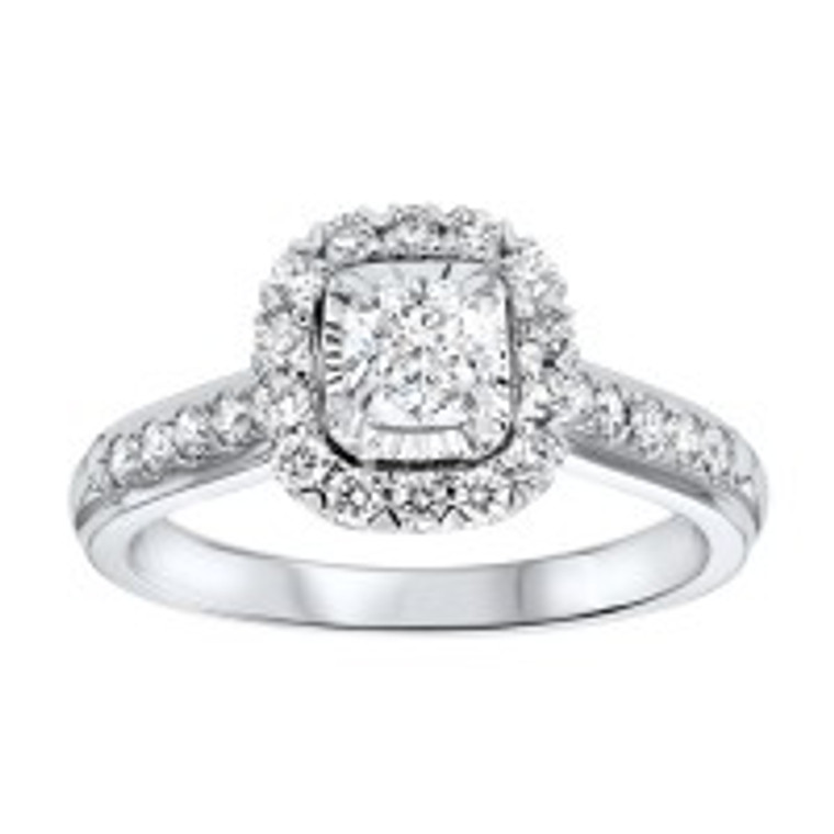14K White Gold 0.50 ct. Diamond Halo Engagement Ring 11006383 | Shin Brothers*