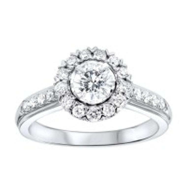 14K White Gold 0.50 ct. Diamond Halo Engagement Ring 11006378 | Shin Brothers*
