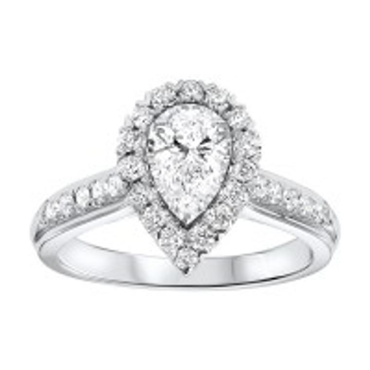 14K White Gold 0.50 ct. Diamond Halo Engagement Ring 11006382   Shin Brothers*